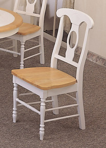 White Napoleon Wood Kitchen Chairs w/ Natural Finish Seat