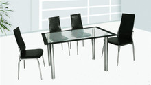 Gala Glass Chrome Table w/ Chairs