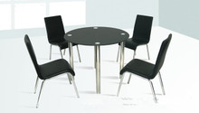 Galina Round Black Glass Chrome Table w/ Chairs