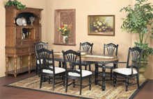 Tyler Round Caramel Black Dining Table with Chairs