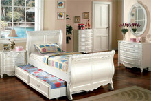 Alexandra Pearl White Fairy Tale Twin Sleigh Bed