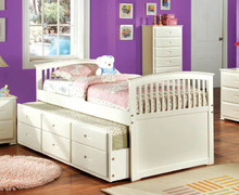 Bella Mission White Twin Bed w/ Trundle
