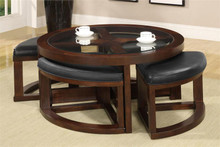 Crystal Cove II Dark Walnut Glass Coffee Table