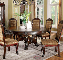 "72"" Medieve Round Brown Cherry Dining Table Set 