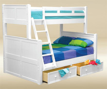 White Wood Twin Over Full Bunk Bed