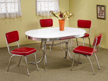 White Chrome Oval Retro Table W/ Red Chairs
