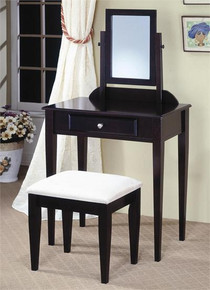 Espresso Wood Makeup Table Set