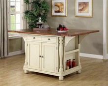 Buttermilk and Cherry Two-Tone Kitchen Cabinet Island with Drop Leaves