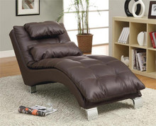 Contemporary Living Room Dark Brown Chaise