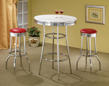 White Retro Bar Table / Red Bar Stools