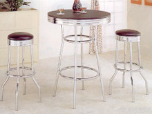 Black Retro Bar Table Set w/ Two Stools