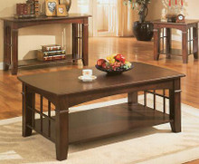 Cherry Finish Wood Coffee Table w/ Shelf