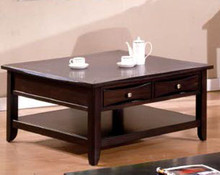 Baldwin Espresso Square Coffee Table w/ Storage Drawers