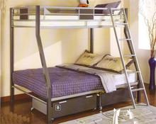 Silver & Gun Metal Twin Full Bunk Bed