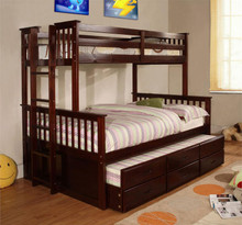 University Espresso Bunk Bed Twin Over Full | Bunk Bed Twin Over Full