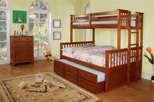 University Oak Twin Over Full Bunk Bed | Twin Over Full Bunk Bed