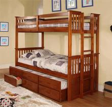 University Oak Twin Over Twin Bunk Bed