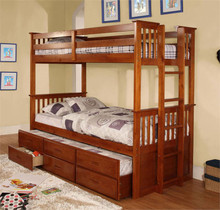 University Oak Twin Over Twin Bunk Bed | Twin Bunk Bed
