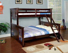 "Dark Walnut ""Extra Long"" Twin Over Queen Bunk Bed"