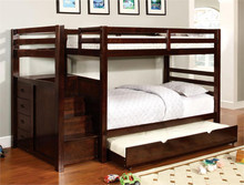Dark Cherry Twin Bunk Bed with Stairs