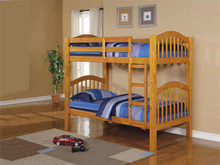 Concord Honey Oak Wood Twin Bunk Bed