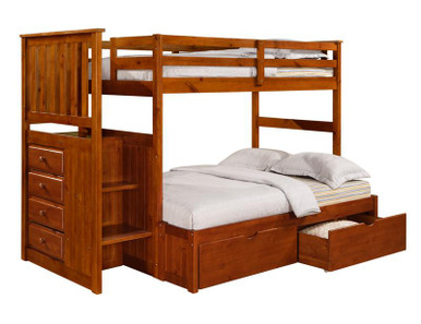 ... Rustic Pine Twin Over Full Bunk Bed with Stairs  Twin Full Bunk Bed
