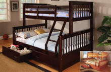 Mission Espresso Twin Full Wood Bunk Bed | Bunk Bed