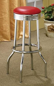 "Chrome Plated Bar Stool / Red Cushion 29""High"