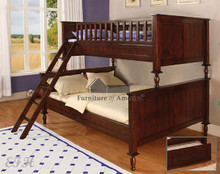 Radcliff Cherry Twin Over Full Bunk Bed | Twin Over Full Bunk Bed