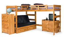 L-Shaped Twin Futon Loft Bed