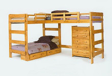 L-Shaped Triple Twin Bunk Bed