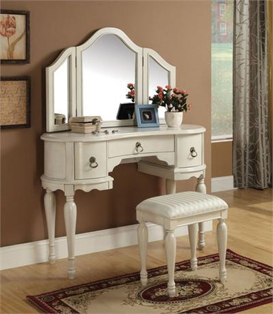 Antiqued White Makeup Vanity Table Set
