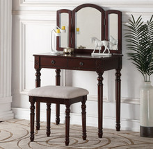 Olivia Espresso Trifold Mirror Vanity Table Set | Espresso Vanity Table