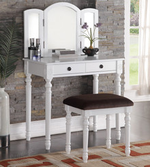 Olivia White Trifold Mirror Vanity Table Set | White Vanity Table