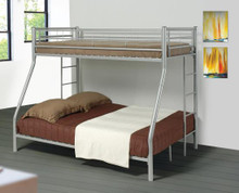 Silver Metal Twin Full Bunk Bed | Twin Bunk Bed
