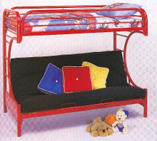 Red-Colored Metal Twin Futon Bunk Bed