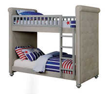 Basilia Light Gray Tufted Twin Bunk Bed