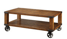Transitional Dark Oak Weathered Coffee Table