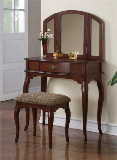 Chantal brown cherry makeup dressing table set make up table for Brown vanity table