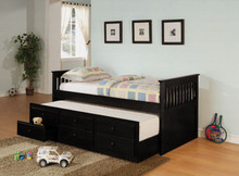 Black Twin Day Bed w/ Under Bed Trundle Drawers