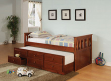 Cherry Twin Day Bed w/ Under Bed Trundle Drawers