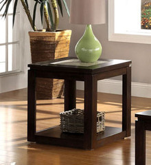 Verona Espresso End Table w/ Tile Insert