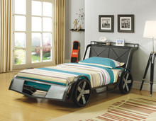 Black and Silver Twin Metal Race Car Bed
