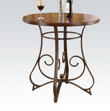 Walnut & Dark Bronze Round Bar Table