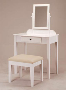 Contemporary White Makeup Table Set w/ Bench