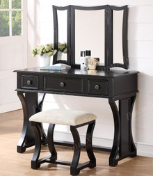 Black Makeup Desk with Bench