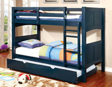 Chase Blue Wood Twin Bunk Bed