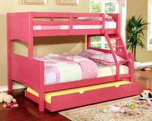 Cottage Pink Wood Twin over Full Bunk Bed