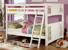 White Wood Full Over Full Bunk Bed
