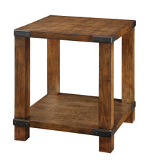 Transitional Dark Oak Weathered End Table